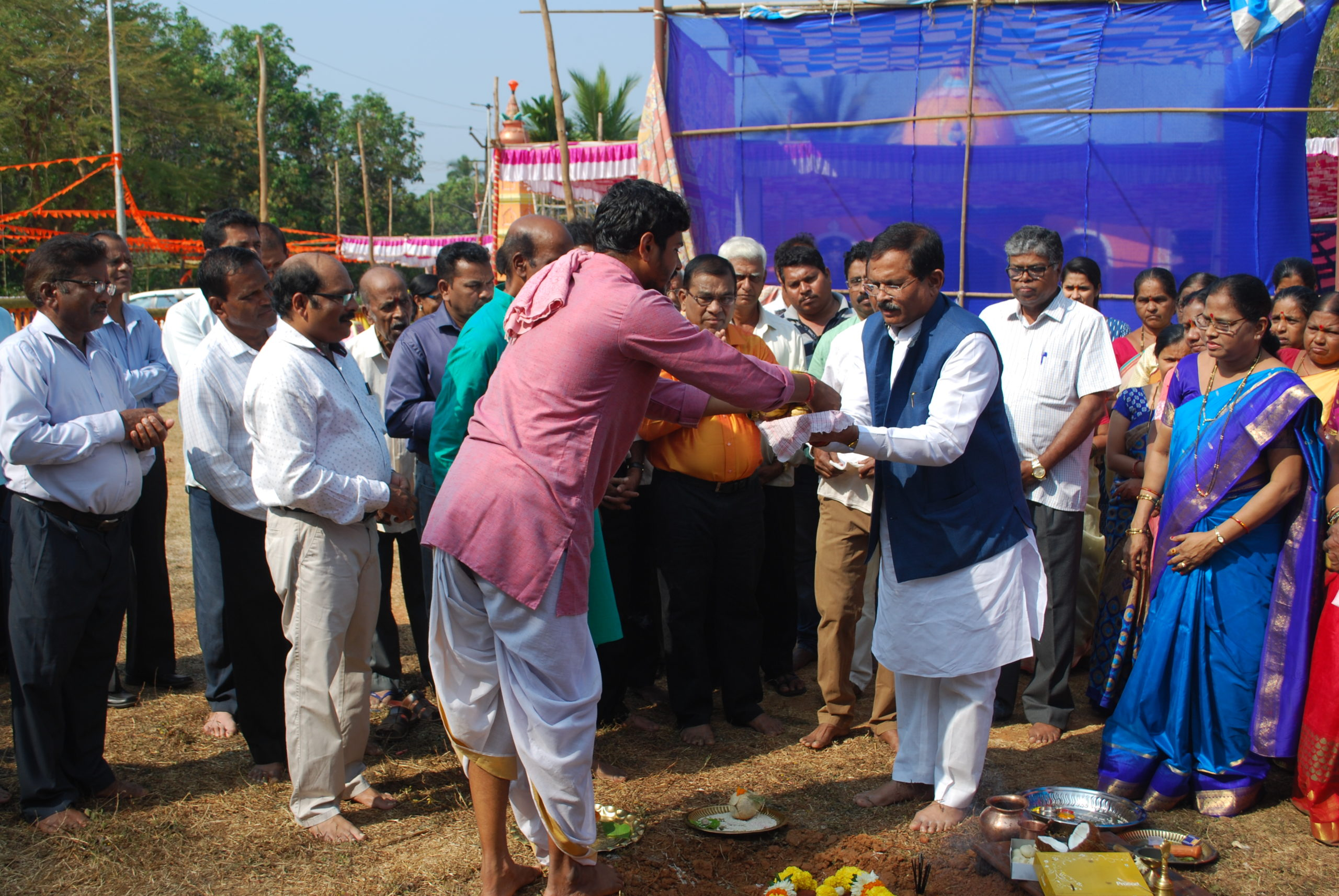 Laying of Foundation stone Community hall near Shree Devi Katyayani Devkikrishna Ravalnath Devasthan, Chodan under MPLAD
