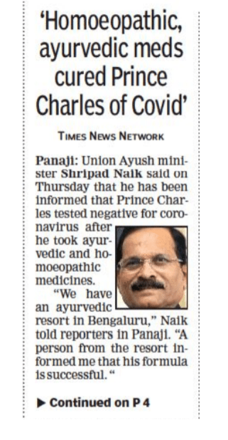 Homoeopathic ayurvedic meds cured Prince Charles of Covid- The Times of India
