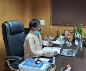Held a discussion on VC with Sh. Pralhad Joshi ji and Sh. Arjun Ram Meghwal ji on #Covid19 situation in the state of Delhi, Haryana, Punjab, Chandigarh, Himachal Pradesh, J&K, Ladakh, Daman & Diu and Goa.