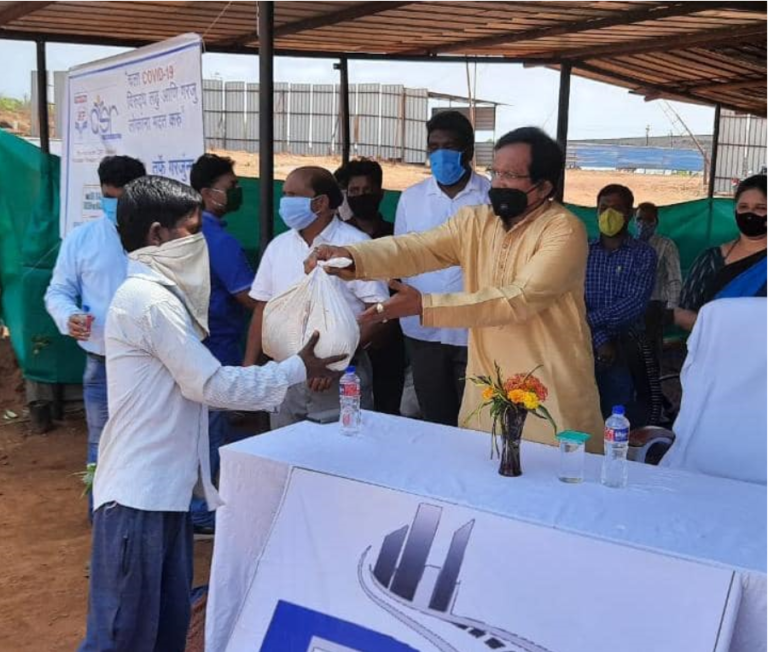 Distributed grocery items to stranded construction workers with the help of HPCL in Dhargal constituency.