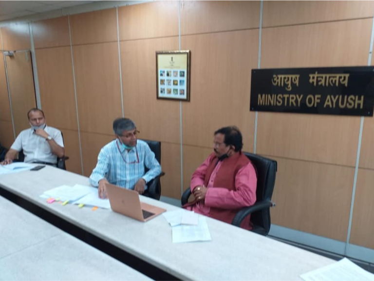 Held a review meeting with task force committe and all council heads of ministry ayush to monitor the progress & to fight against COVID-19.