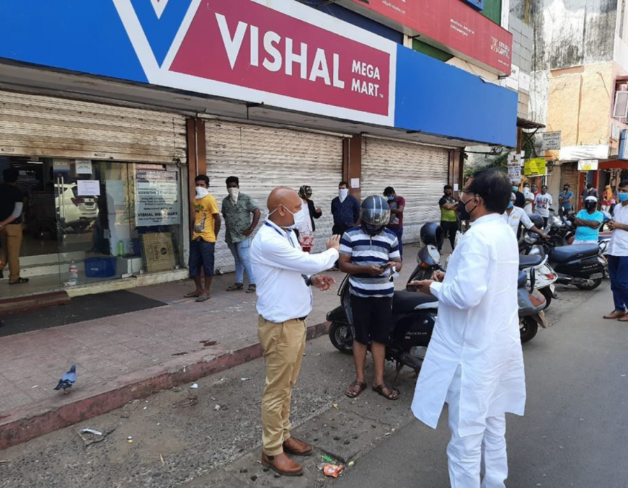 Enquired about the availability of grocery items and adherence to social distancing norms with Panaji Vishal Mega Mart.